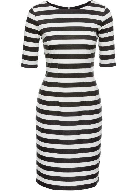 Pruhované šaty se zipem přírodně bílo-černé pruhy - BODYFLIRT ... f1e8020b26