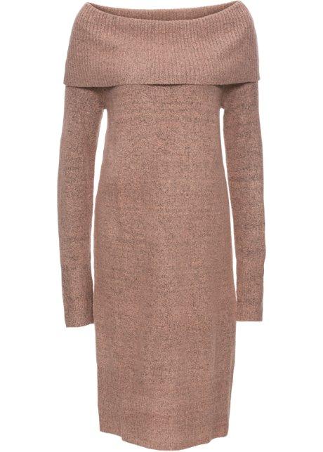 fbf70bfe3d57 Pletené šaty s odhalenými rameny vintage růžový melír - Žena ...
