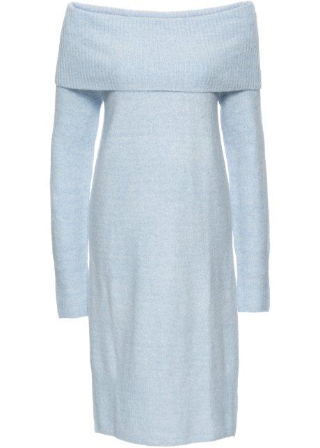 0758e3f84fc3 Pletené šaty s odhalenými rameny světle modrý melír - BODYFLIRT ...