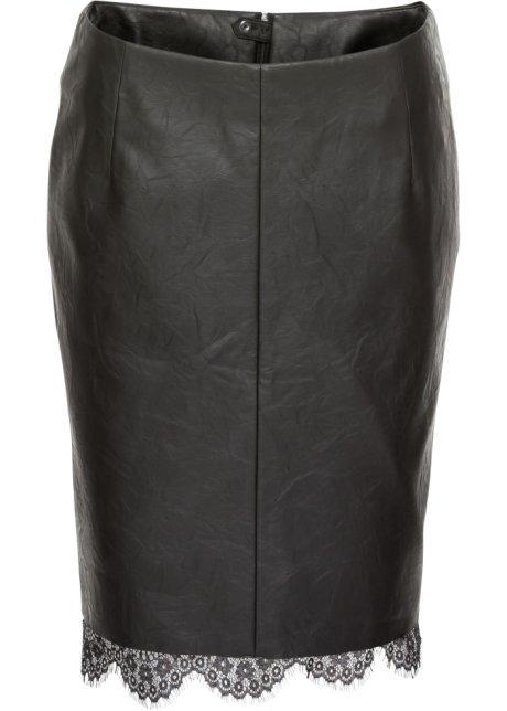 Sukně z umělé kůže s krajkou černá - Žena - bonprix.cz dbbe494890