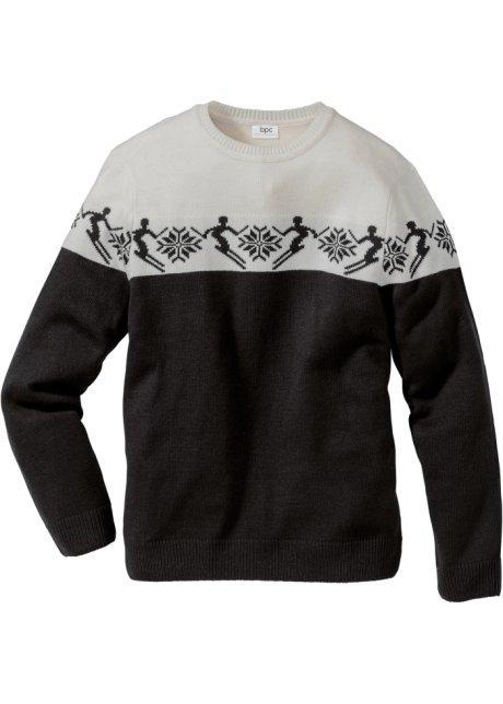 Norský svetr s vlnou Regular Fit černo-přírodní bílá se vzorem - Muž ... c2a7791b8a