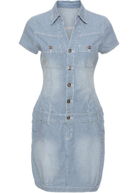 Džínové šaty indigo s proužky - RAINBOW koupit online - bonprix.cz 1d5d29420f