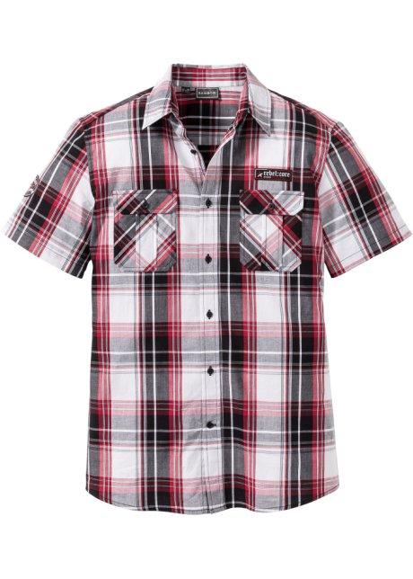 e8e260d6f6b Košile s krátkým rukávem Silm Fit černo-bílo-tmavě červená - Muž ...