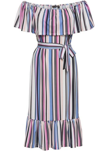 cb949510fd6 Šaty Carmen s páskem růžovo-světle modré pruhy - BODYFLIRT koupit ...