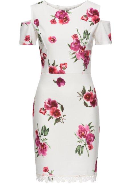 Šaty s květinovým potiskem a krajkou přírodní s květinovým potiskem ... 585b08636c