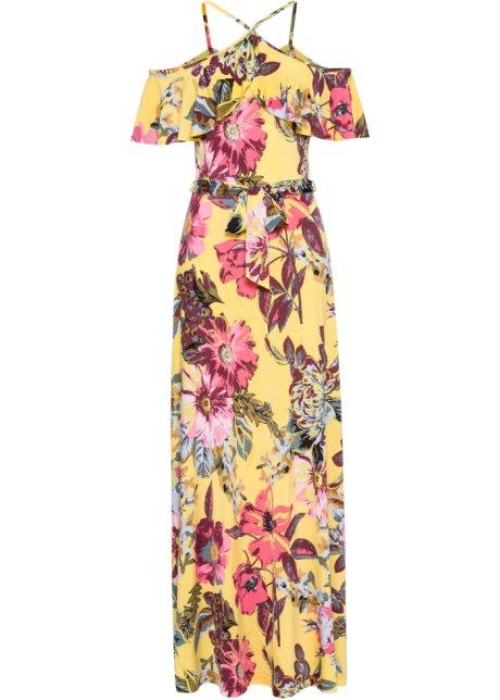 Dlouhé šaty s volány žlutá s květy - BODYFLIRT boutique objednat ... a793c91e22