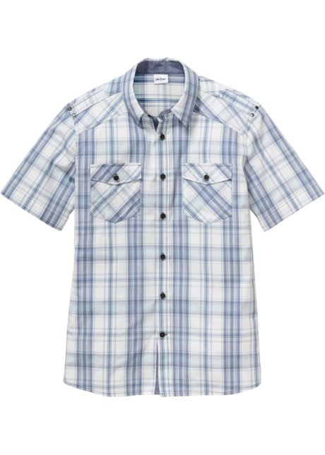 Košile s krátkým rukávem Regular Fit modro-bílá kostka - John Baner ... 0e25cd71e8