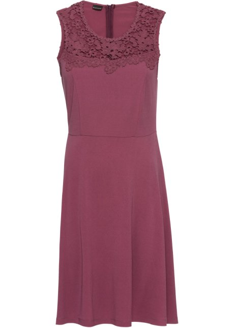 7b5b777085e Žerzejové šaty s krajkou nezralá ostružina - BODYFLIRT koupit online ...