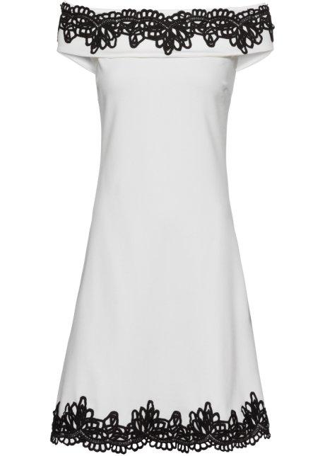 Šaty s krajkou bílý twil s černou - BODYFLIRT boutique objednat ... f05fb387dc