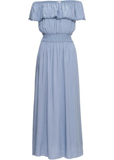 5a145b09369a Dlouhé šaty s výstřihem Carmen světle modrá - BODYFLIRT objednat ...