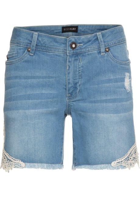 d227d568592 Džínové šortky s krajkou světle modrá bleached - Žena - BODYFLIRT ...