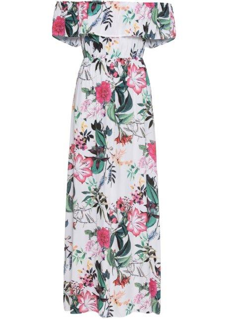 48e416af1f1 Dlouhé šaty s květinovým potiskem bílá s květy - BODYFLIRT objednat ...