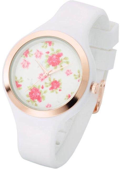 Hodinky s květinovým ciferníkem růžovozlaté odstíny-bílá - bpc ... 43dddea19d