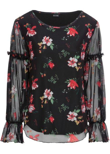 Halenkové tričko ze síťové látky černá s květy - BODYFLIRT objednat ... 76c15a30462