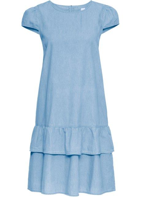 b485cf15cc8 Džínové šaty s volány světle modrá - John Baner JEANSWEAR - bonprix.cz