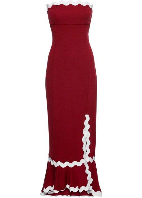 1f74db2c9875 Šaty s rozparkem na noze tmavě červeno-bílá - BODYFLIRT boutique ...