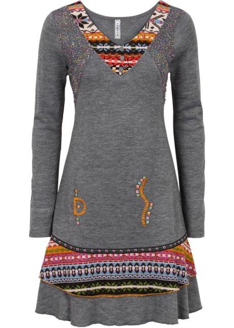 aa3db8d26938 Pletené šaty v etno vzhledu šedý melír - RAINBOW koupit online ...