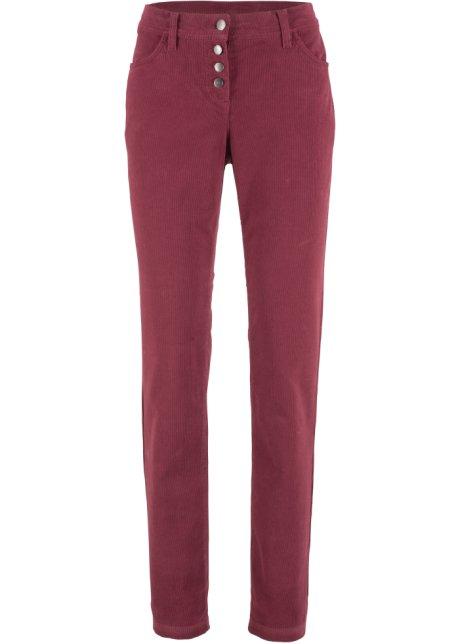 b36bfb19ac8 Strečové manšestrové kalhoty s knoflíkovou légou bordó - bpc bonprix ...
