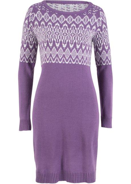 fa5ae9f01ce2 Pletené šaty ultrafialovo-přírodně bílý vzor - bpc bonprix ...