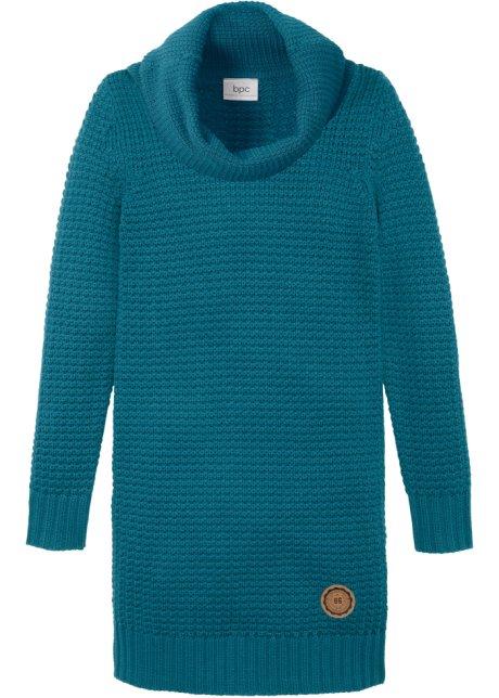 Pletené šaty s velkým rolákovým límcem modrá petrolejová - Dítě ... 783967711a3