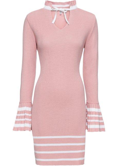 c3d9a67ab3d8 Pletené šaty starorůžovo-bílá - Žena - RAINBOW - bonprix.cz