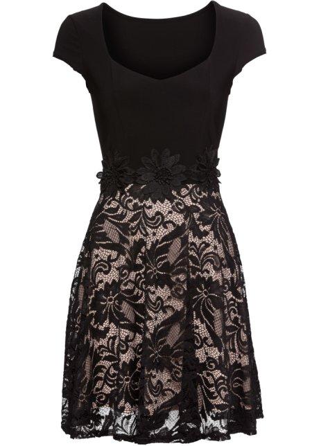 Šaty s krajkou černo-tělová - Žena - BODYFLIRT - bonprix.cz f3624cf69c