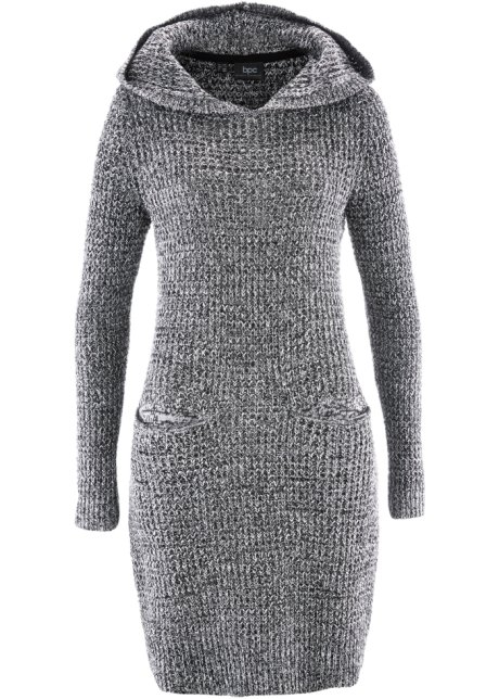 4bc0518f8624 Pletené šaty s kapucí černo-bílý melír - bpc bonprix collection ...