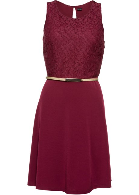 af54ae19bd1 Žerzejové šaty s páskem javorově červená - BODYFLIRT objednat online ...