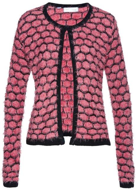Pletený kabátek z hebkého vlákna pastelově růžovo-černá - bpc ... 8fbcc311ce