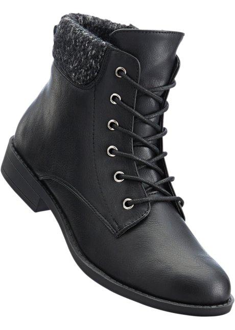Kotníčková obuv na zavazování černá - bpc bonprix collection ... 874a217f4a