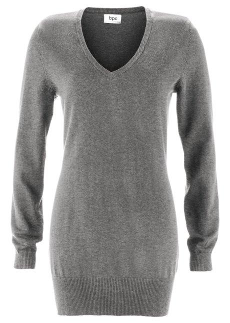 Dlouhý svetr šedý melír - bpc bonprix collection objednat online ... e932251e54