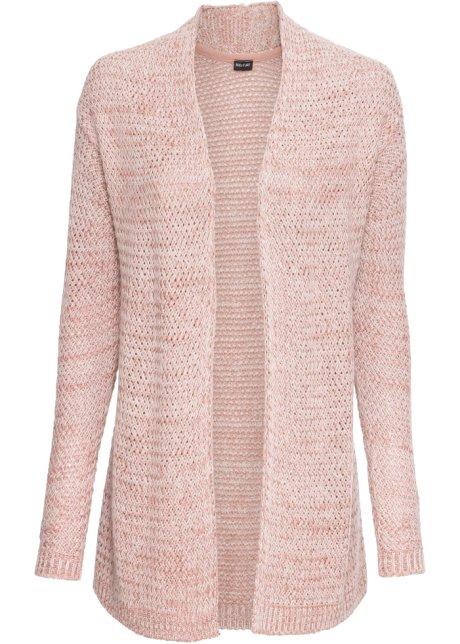 Pletený kabátek růžová vintage-bílý melír - BODYFLIRT koupit online ... 16b9c5c161