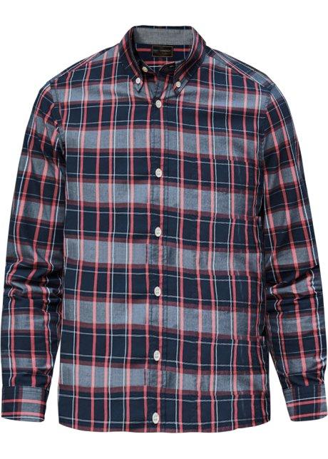 b5d953c91e9 Kostkovaná košile s dlouhým rukávem tmavě modro-humrovo-bílá kostka ...