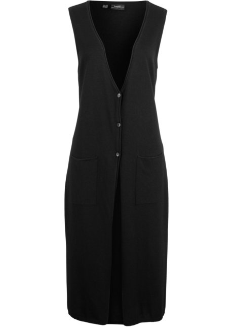 e2a168cdea70 Dlouhá pletená vesta s výstřihem do V z recyklované bavlny černá ...
