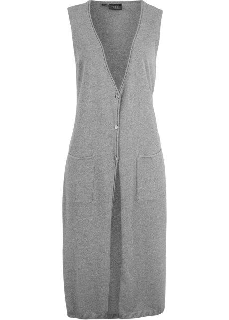 2f360be83483 Dlouhá pletená vesta s výstřihem do V z recyklované bavlny šedý ...