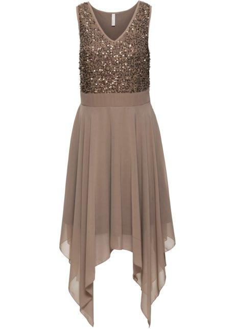 Večerní šaty s pajetkami světle hnědá - BODYFLIRT boutique objednat ... 1e03a989f4