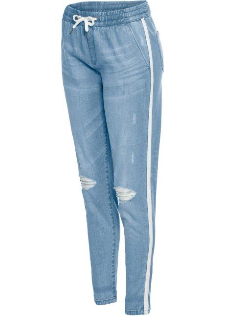 Baggy džíny s elastickým šněrováním modrá bleached - RAINBOW ... c32b7d7719