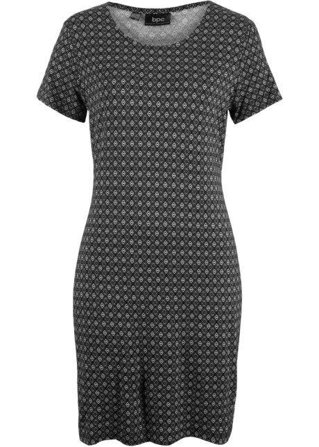 b7a9ae37fdf9 Krátké úpletové šaty černá se vzorem - Žena - bonprix.cz