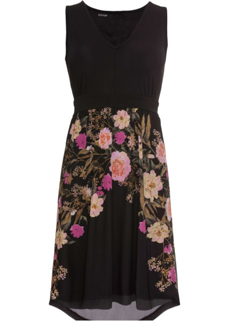 Žerzejové šaty se síťovanou sukní černá s květy - Žena - BODYFLIRT ... 0e04d88437