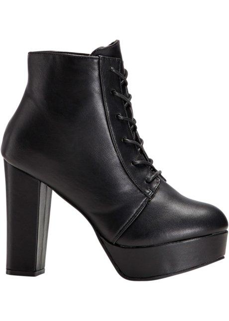 d21dc8350edc Šněrovací kotníčková obuv s platformou černá - Žena - RAINBOW ...