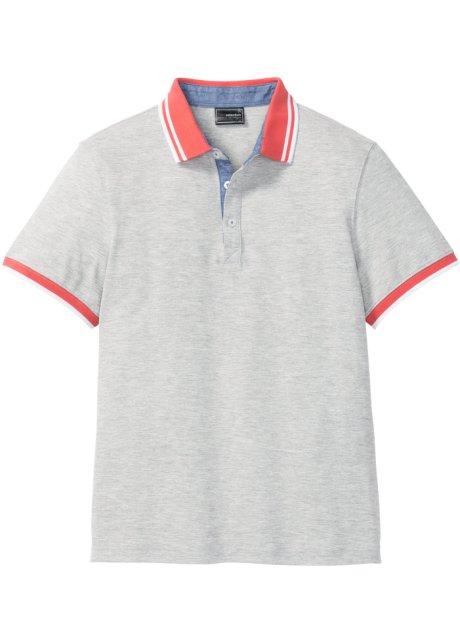 bf0421a95516 Polo tričko s kontrastním límcem světle šedý melír - bpc selection ...
