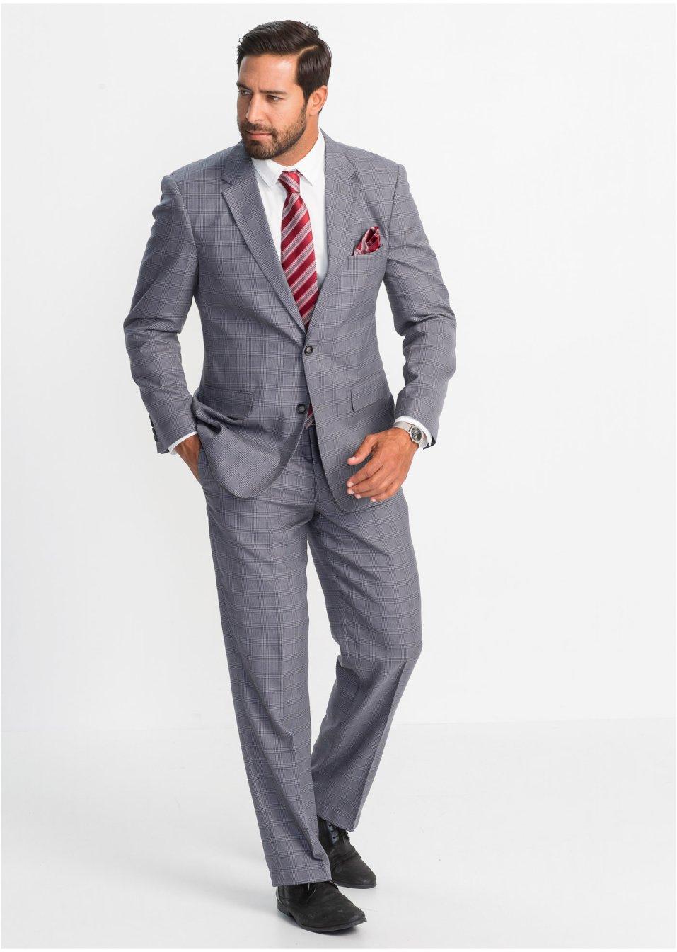 Oblek (2dílná souprava) Regular Fit šedo-černá se vzorem - Muž - bonprix.cz 1782979bd2