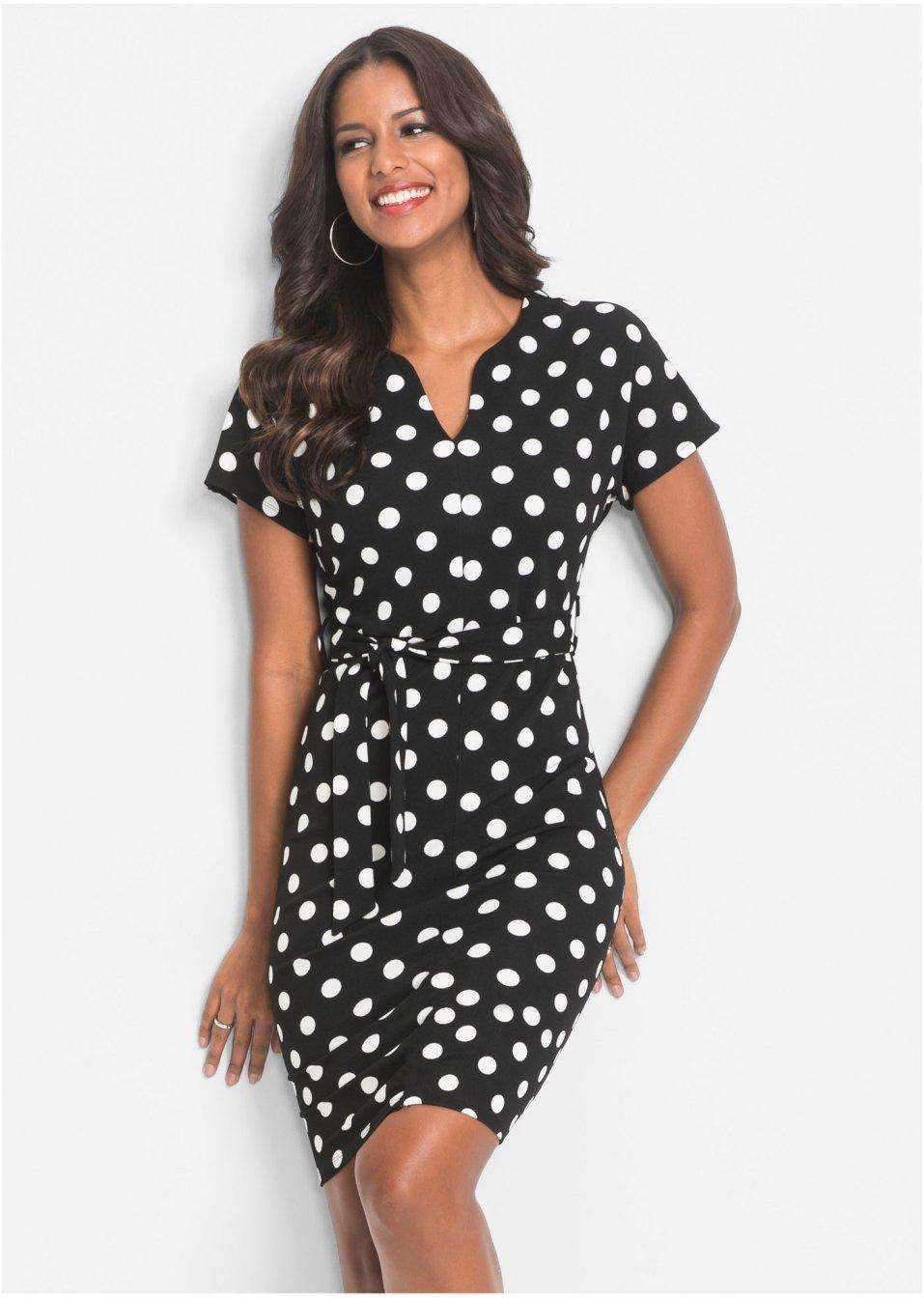 Šaty s puntíky černo-bílá s puntíky - Žena - BODYFLIRT boutique - bonprix.cz 85339d7228