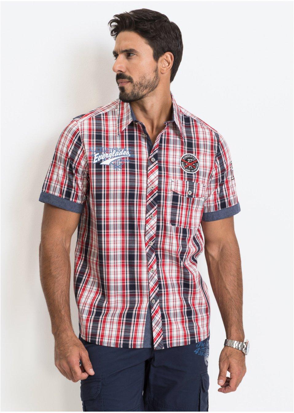Kostkovaná košile s krátkým rukávem červená kostka - Muž - bonprix.cz ed9eee519b