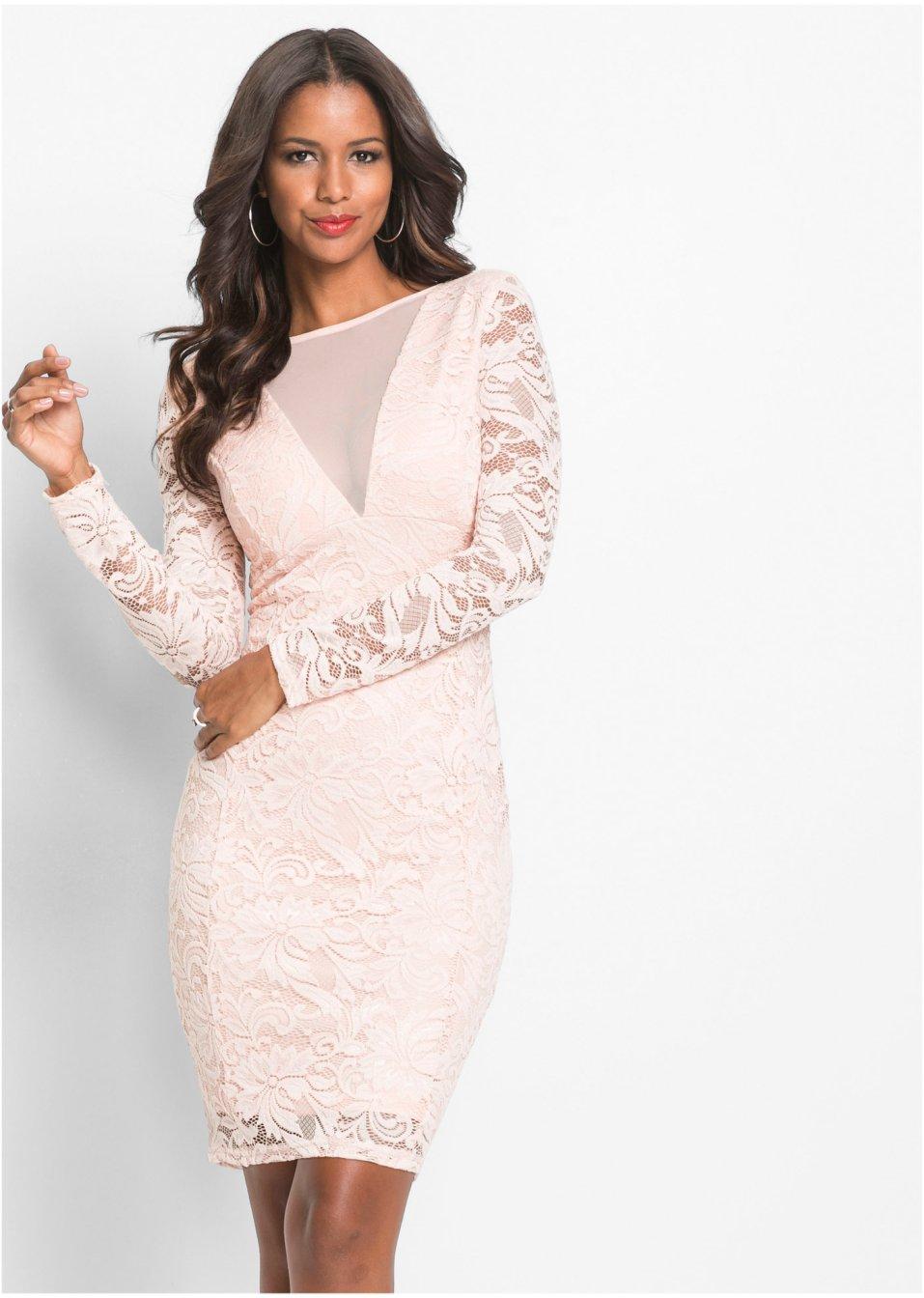 Večerní šaty s krajkou světle růžová - BODYFLIRT boutique koupit online -  bonprix.cz e9f1b8bddb