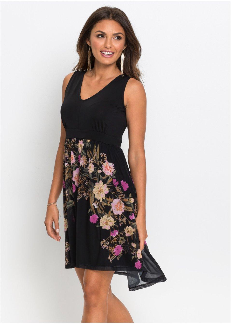 Žerzejové šaty se síťovanou sukní černá s květy - Žena - BODYFLIRT - bonprix .cz 9a19ca7ed2