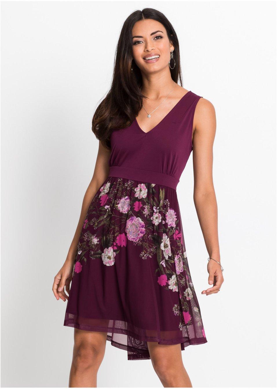 Žerzejové šaty se síťovanou sukní bobulová s květy - BODYFLIRT - bonprix.cz 473360bbc2