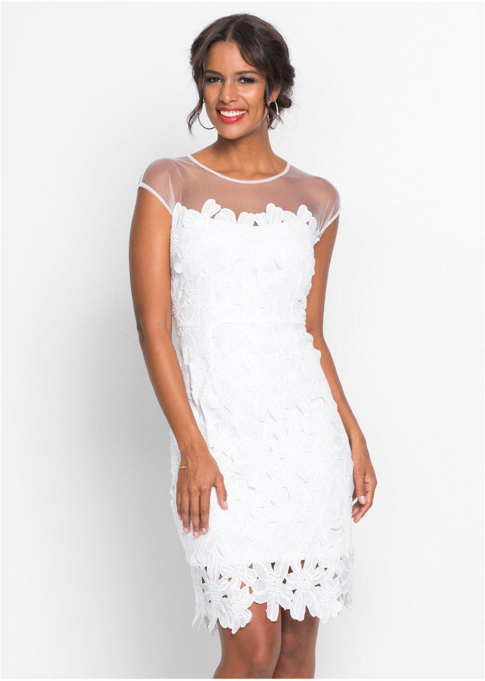 Šaty s květinovou krajkou bílá - Žena - bonprix.cz c28afbd42f