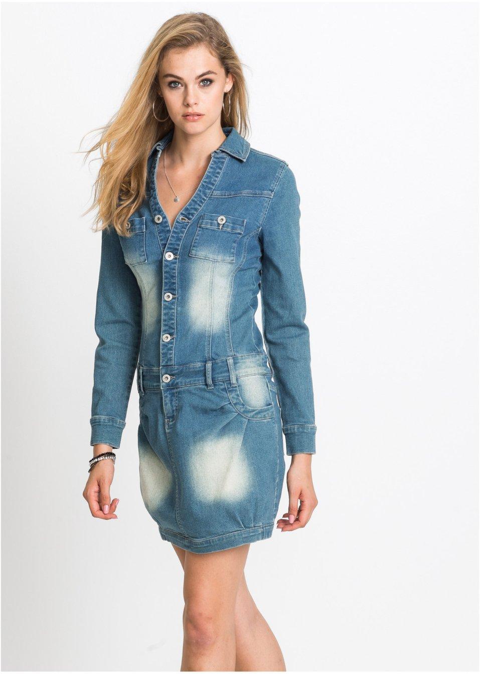 bcad3ed7502 Džínové šaty s dlouhým rukávem modrá stone - Žena - bonprix.cz