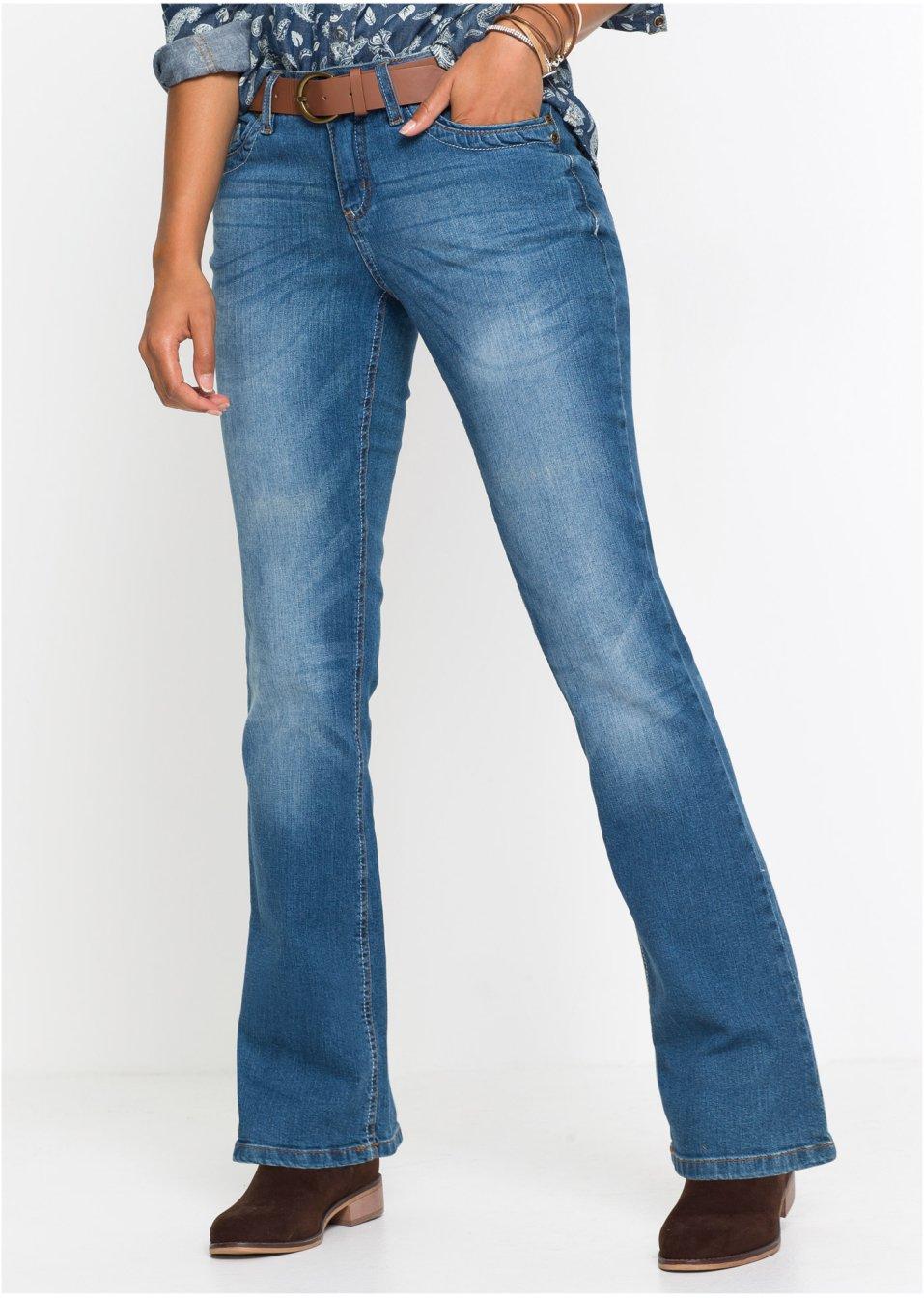 Strečové džíny s páskem BOOTCUT modrá - John Baner JEANSWEAR koupit online  - bonprix.cz 015a0a6fda